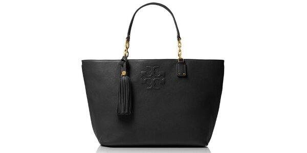 Dámska čierna kožená kabelka so strapcom Tory Burch