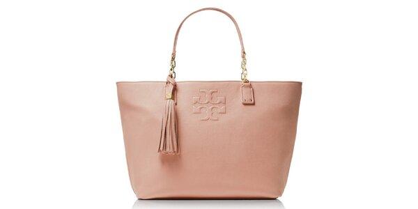 Dámska svetlo ružová kožená kabelka so strapcom Tory Burch