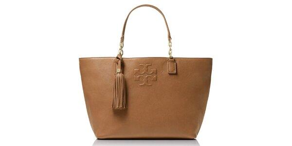 Dámska svetlo hnedá kožená kabelka so strapcom Tory Burch