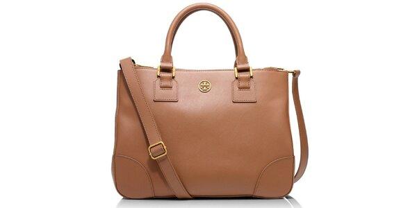 Dámska svetlo hnedá kožená taška Tory Burch