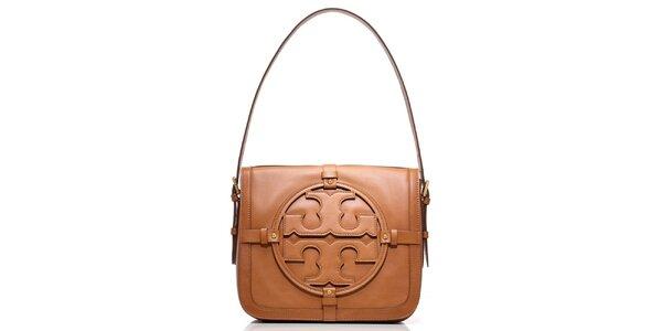 Dámska hnedá kožená kabelka s ornamentom Tory Burch