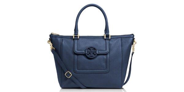 Dámska temno modrá kožená kabelka cez rameno Tory Burch
