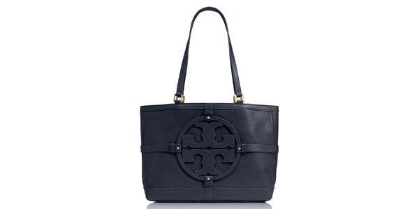Dámska tmavo modrá kožená kabelka s ornamentom Tory Burch