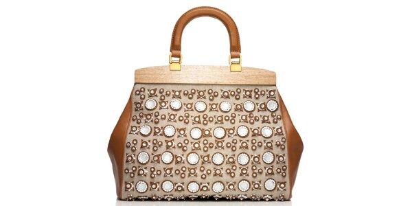 Dámska svetlá kožená doktorská taška s aplikáciami Tory Burch