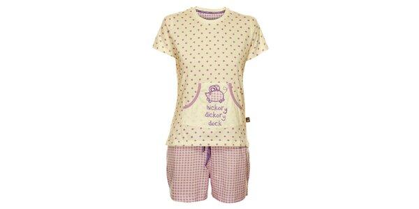 Dámske bielo-fialové pyžamo Marie Claire - šortky a tričko