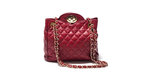 Dámska červená zaoblená kabelka z kože Isabella Rhea