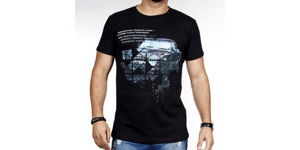 Pánske čierne tričko s autom Pontto