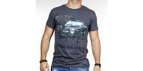 Pánske šedé tričko s autom Pontto