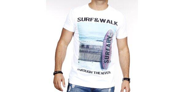 Pánske biele tričko so surfom Pontto