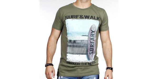 Pánske zelené tričko so surfom Pontto