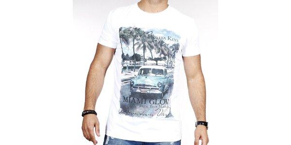Pánske biele tričko s farebnou potlačou Pontto