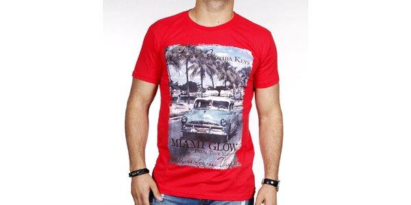 Pánske červené tričko s farebnou potlačou Pontto
