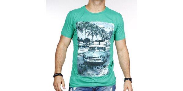 Pánske zelené tričko s farebnou potlačou Pontto
