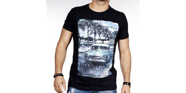 Pánske čierne tričko s farebnou potlačou Pontto
