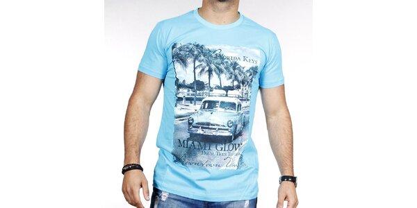 Pánske svetlo modré tričko s farebnou potlačou Pontto