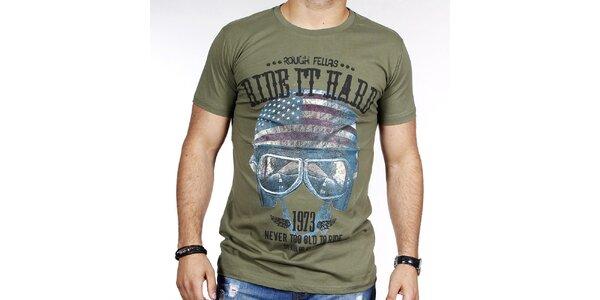 Pánske khaki tričko s helmou Pontto