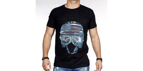 Pánske čierne tričko s helmou Pontto