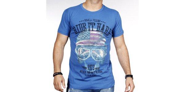 Pánske modré tričko s helmou Pontto