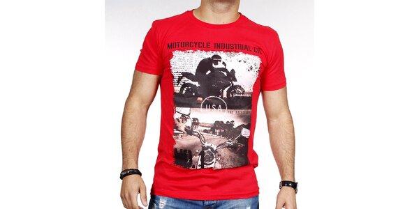 Pánske červené tričko s potlačou motorky Pontto