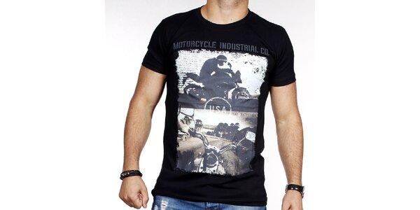 Pánske čierne tričko s potlačou motorky Pontto