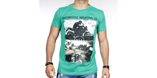 Pánske zelené tričko s potlačou motorky Pontto