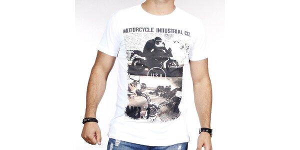Pánske biele tričko s potlačou motorky Pontto