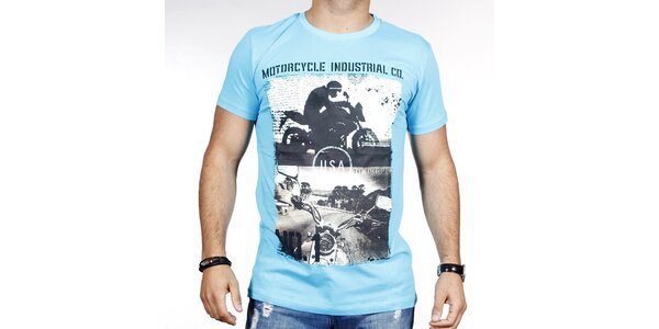 Pánske svetlo modré tričko s potlačou motorky Pontto