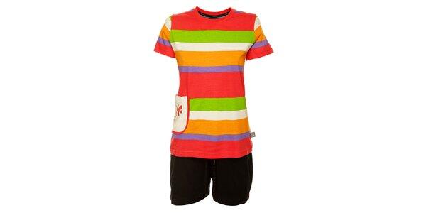 Dámske farebné prúžkované pyžamo Marie Claire - šortky a tričko