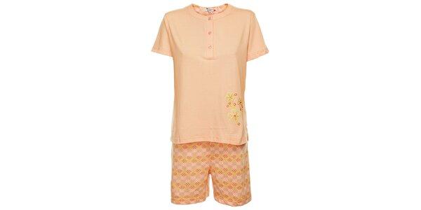 Dámske ružové pyžamo Isma s kvetinkami - šortky a tričko