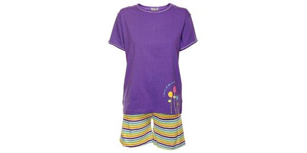 Dámske fialové pyžamo Cocodream - šortky a tričko