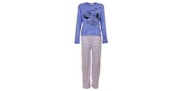 Dámske modré pyžamo Moda para TI s medveďom - nohavice a tričko