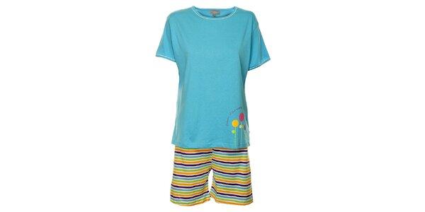 Dámske svetlo modré pyžamo Cocodream - kraťasy a tričko