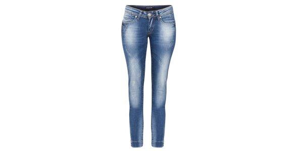 Dámske modré džínsy so šisovaním a odreninami Giorgio di Mare