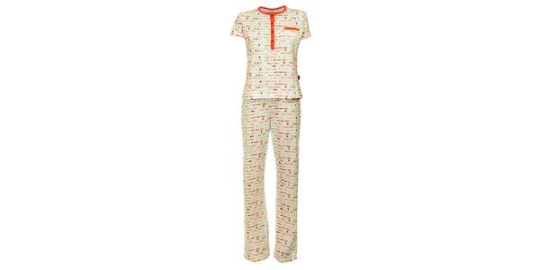 Dámske biele pyžamo Marie Claire s potlačou - nohavice a tričko
