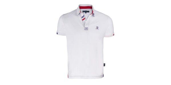 Pánske biele polo tričko s plachetnicou a krátkym rukávom Giorgio di Mare