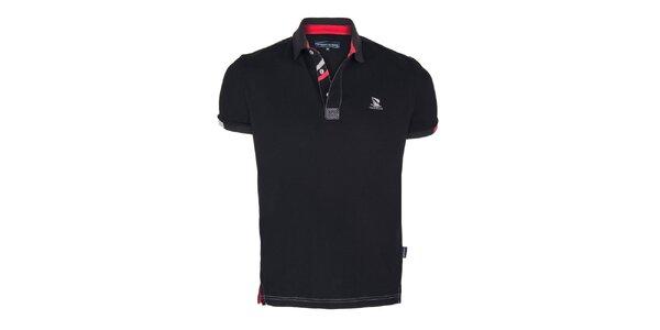 Pánske čierne polo tričko s plachetnicou a krátkym rukávom Giorgio di Mare