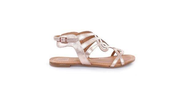 Dámske ružovo zlaté sandálky Vizzano