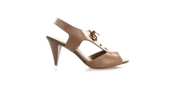 Dámske kožené šnurovacie topánky v hnedej farbe Via Uno