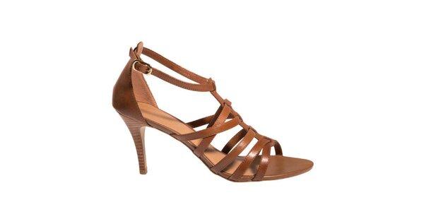 Dámske hnedé sandálky na opätku Via Uno