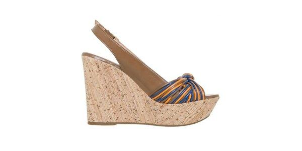 Dámske hnedé sandálky na kline s farebnými detailmi Via Uno