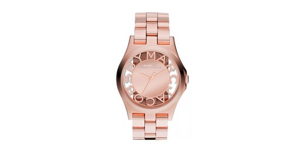 Dámske pozlátené hodinky s priehľadným ciferníkom Marc Jacobs