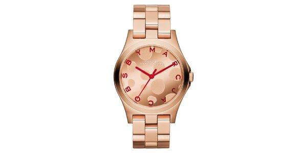 Dámske pozlátené hodinky Marc Jacobs vo farbe ružového zlata
