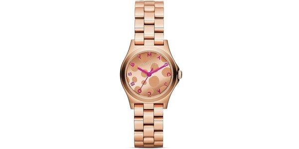Dámske pozlátené hodinky s ružovými rafikami Marc Jacobs