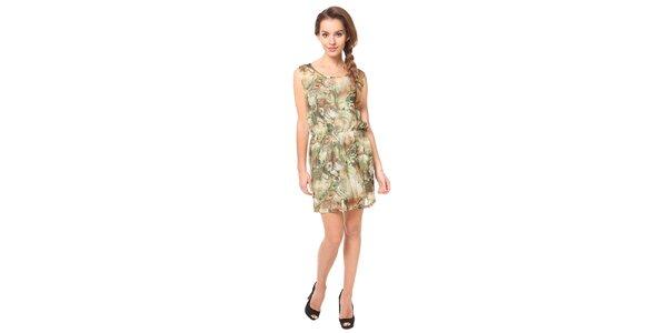 Dámske olivové vzorované šaty Moda Prym