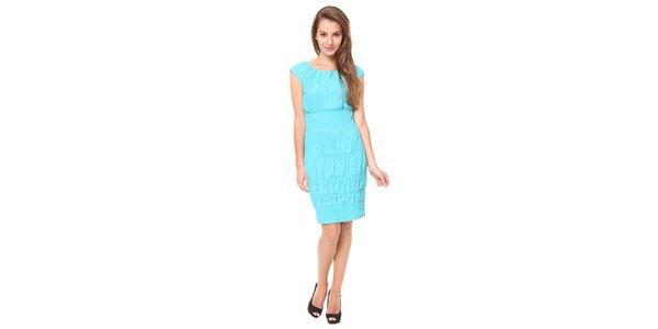 Dámske tyrkysové šaty so žabičkovaním Moda Prym