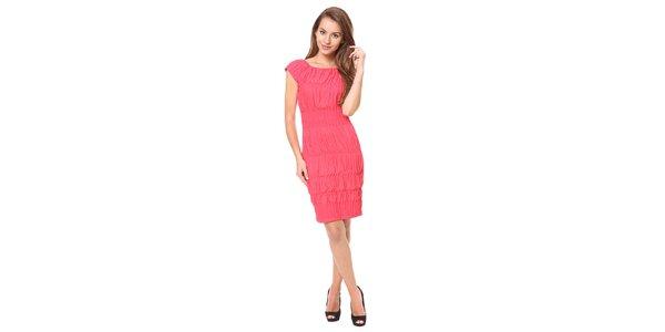 Dámske malinové šaty so žabičkovaním Moda Prym