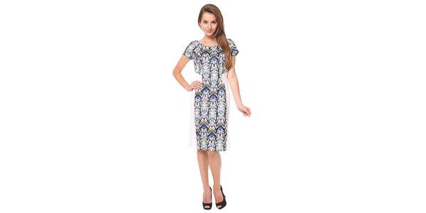 Dámske modro-biele šaty s krátkymi rukávmi Moda Prym