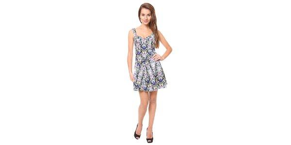 Dámske modré šaty so vzorom Moda Prym