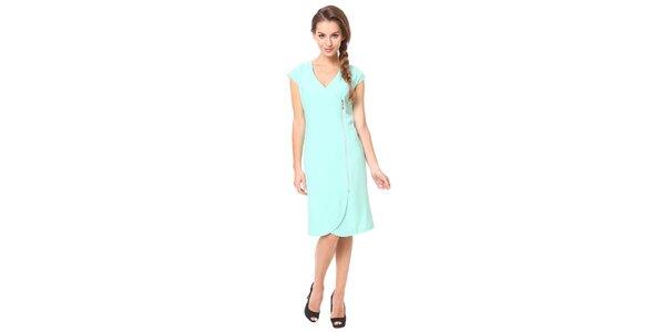 Dámske mentolové šaty s ozdobným zipsom Moda Prym