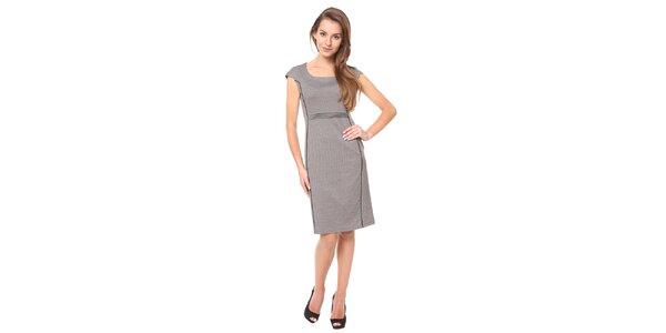 Dámske šedé šaty s čiernou linkou Moda Prym